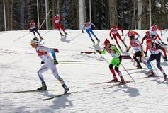 Mäns start för mass för längdlöpning 50km i Sochi Arkivbild