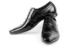 Mäns svarta skor för läderklänning Royaltyfri Fotografi