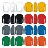 Mäns t-skjorta för hals för långa muffar runda mallar, framdel-, sido- och baksidasikter vektor illustrationer