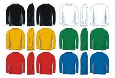 Mäns t-skjorta för hals för långa muffar runda mallar Framdel-, sido- och baksidasikter stock illustrationer