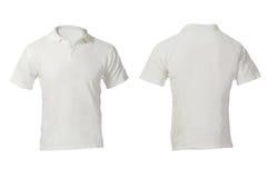 Mäns tomma vita Polo Shirt Template arkivfoton
