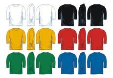 Mäns trekvarts- runda halst-skjorta mallar, framdel-, sido- och baksidasikter vektor illustrationer