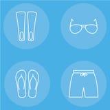 Mäns uppsättning för symbol för strandkläderöversikt Stock Illustrationer