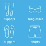 Mäns uppsättning för symbol för strandkläderöversikt Royaltyfri Illustrationer
