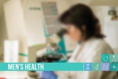 mäns vård- medicinsk begreppsbild med symboler och doktorer på bakgrund Arkivbilder