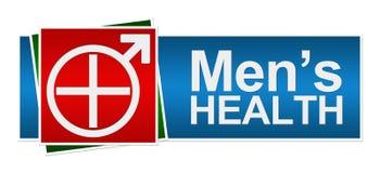 Mäns vård- rött baner för gräsplanblått royaltyfri illustrationer