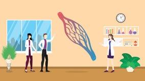 Mänsklig analys för undersökning för hälsovård för capileranatomistruktur som identifierar vid doktorsfolk på sjukhuset - royaltyfri illustrationer