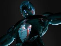 Mänsklig anatomi i framtid Arkivfoton