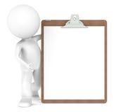mänsklig clipboard för tecken 3d little Arkivbilder