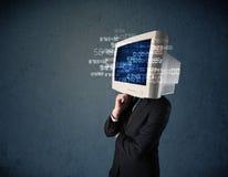 Mänsklig cyberbildskärmPC som beräknar datordatabegrepp Arkivfoton