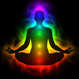 Mänsklig energikropp, aura, chakra i meditation Royaltyfria Foton