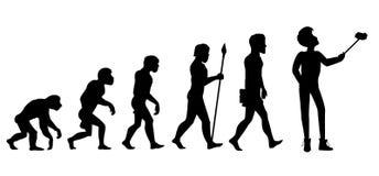Mänsklig evolution från apa till mannen stock illustrationer