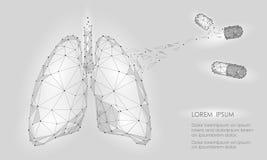 Mänsklig för lungamedicin för inre organ drog för behandling Låg Poly teknologidesign Förbindelseprickar för vitgrå färgfärg poly stock illustrationer
