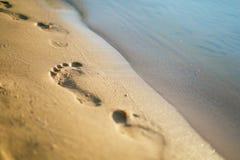 Mänsklig fotspårnärbild på den sandiga stranden royaltyfri fotografi