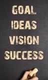 Mänsklig framgång för vision för idéer för handhandstilmål Arkivbilder