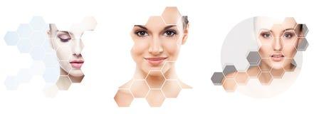 Mänsklig framsida i en collage Ung och sund kvinna i för lyftabegrepp för plastikkirurgi, för medicin, för brunnsort och för fram royaltyfri foto