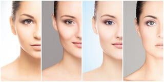 Mänsklig framsida i en collage Ung och sund kvinna i lyftabegrepp för plastikkirurgi, för medicin, för brunnsort och för framsida royaltyfri bild