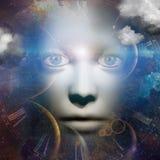 Mänsklig framsida med universum royaltyfri illustrationer