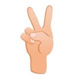 Mänsklig hand med gestseger Tecken av framgång Arkivbild