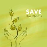 Mänsklig hand med växten för räddningnatur Royaltyfri Fotografi