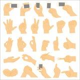 Mänsklig handsamling, olika händer, gester, signaler arkivbilder