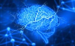 Mänsklig hjärna Elektrisk aktivitet Skapa konstgjord intelligens royaltyfri illustrationer