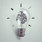 mänsklig hjärna för metall 3d i en ljus kula Royaltyfria Foton