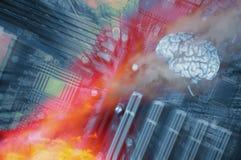 Mänsklig hjärna, kommunikation och intelligens Arkivbilder
