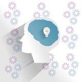 Mänsklig hjärna med att tänka för idé Arkivbilder