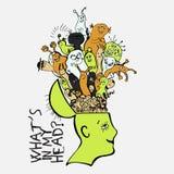 Mänsklig hjärna med den gulliga cartooning gigantiska insidan Begrepp om vilken konstiga saker folket har i tankar roligt stock illustrationer