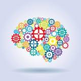 Mänsklig hjärna med kugghjul Royaltyfri Fotografi