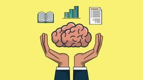 Mänsklig hjärna med kunskap på animering för händer HD vektor illustrationer