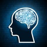 Mänsklig hjärna med uppsättningen av kugghjul på matrisnummerbakgrund royaltyfri illustrationer