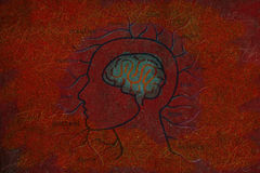 Mänsklig hjärna och realitet som tänker på röd Grungebakgrund Arkivbild