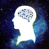 Mänsklig hjärna och universum Arkivbilder