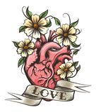 Mänsklig hjärta med blommor stock illustrationer