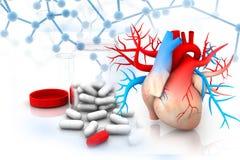 mänsklig hjärta med medicin stock illustrationer