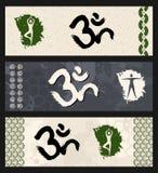 Mänsklig illustration för yoga för symbol för formgenomkörareOm. Royaltyfria Foton