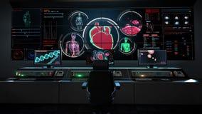 Mänsklig medicinsk vårdmitt, huvudsakligt kontrollrum, scanningblodkärl för kvinnlig kropp som är lymfatiskt, hjärta, cirkulation royaltyfri illustrationer