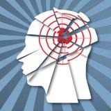 Mänsklig profil med det röda målet Informationsattack stock illustrationer