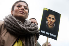 Mänsklig rättighetprotest Arkivbild
