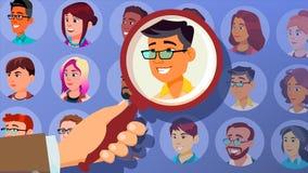 Mänsklig rekryteringvektor man Affärsman som väljs i rekrytering Välj upp, valt individuellt Folkpersonalresurser vektor illustrationer