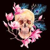 Mänsklig skalle för vattenfärg och rosa färgblommamagnolia vektor illustrationer