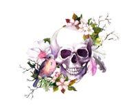 Mänsklig skalle med blommor för körsbärsröd blomning, fjädrar, fågel för dagen av döden vattenfärg royaltyfri illustrationer