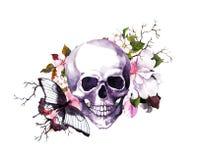 Mänsklig skalle med blommor, fjäril Vattenfärg för allhelgonaafton vektor illustrationer