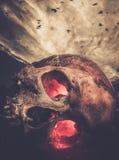 Mänsklig skalle med glödande ögon royaltyfri fotografi