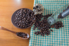 Mänsklig skalle med kaffebönor Arkivfoton
