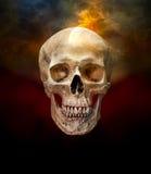 Mänsklig skalle med rök arkivbild