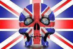 Mänsklig skalle mot Union Jack Royaltyfri Foto