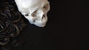 Mänsklig skalle på bakgrunden av modeller Svart bakgrund, allhelgonaaftonbegrepp arkivfoto